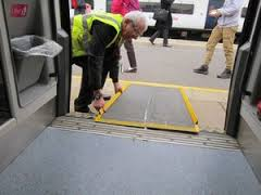 Ramps for use with a disabled person for a train