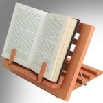 wooden reading rest and a book