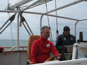 Patrick at the wheel of the Lord Nelson