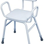 Perching Stool with Arm Rests and Padded Back