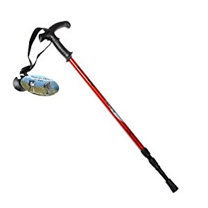 Red Telescopic Anti-Shock Hiking Walking Stick