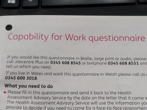 Capability for Work questionnaire