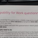 Capability of work questionnaire